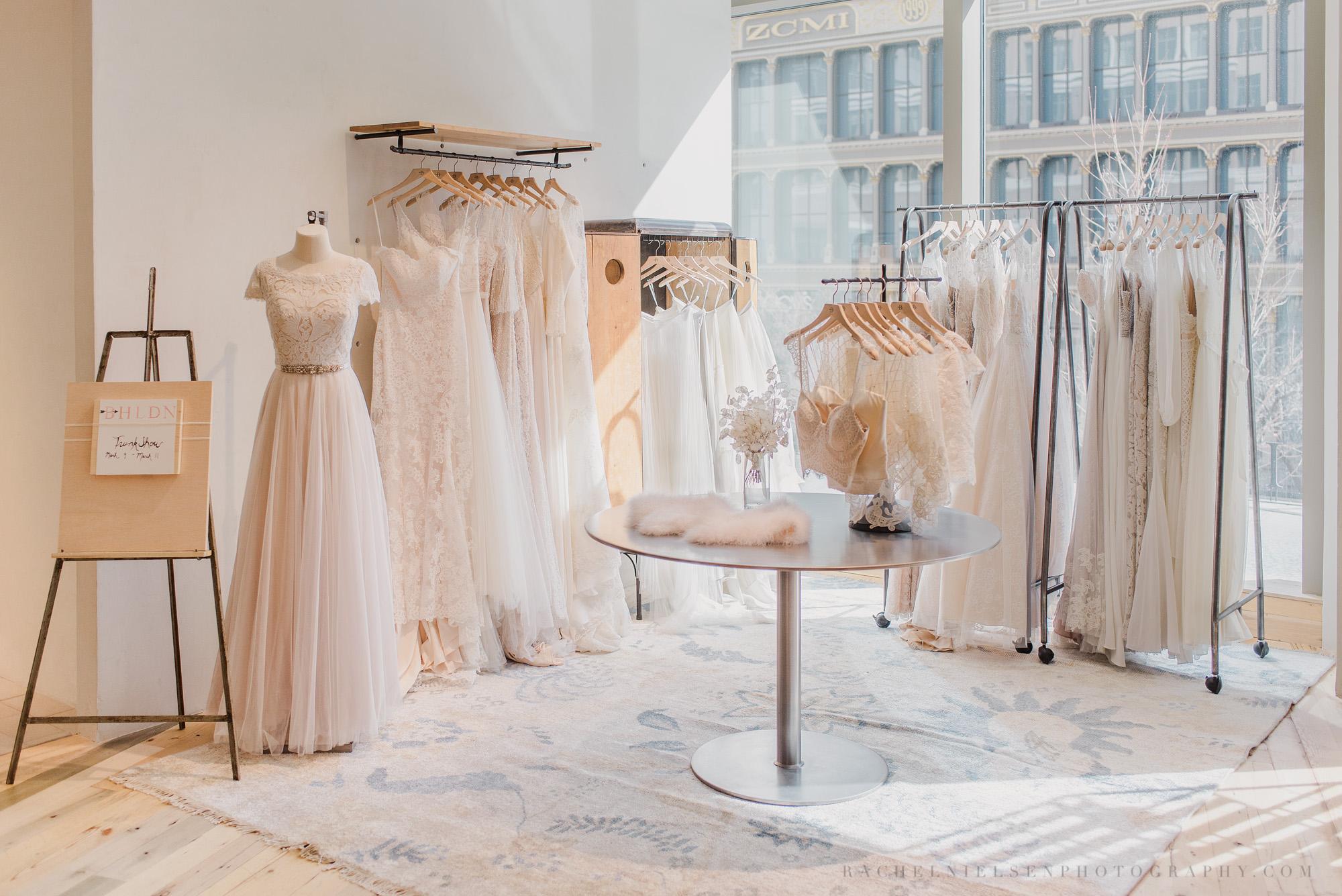 BHLDN wedding dresses by wedding photographer Rachel Nielsen