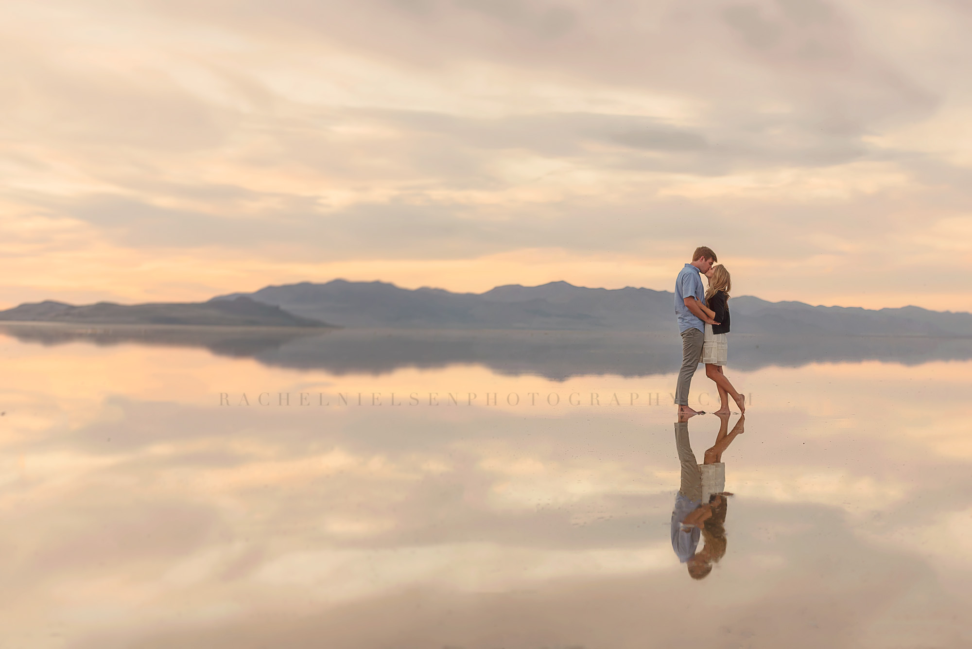 great Salt Lake engagement session couple reflection