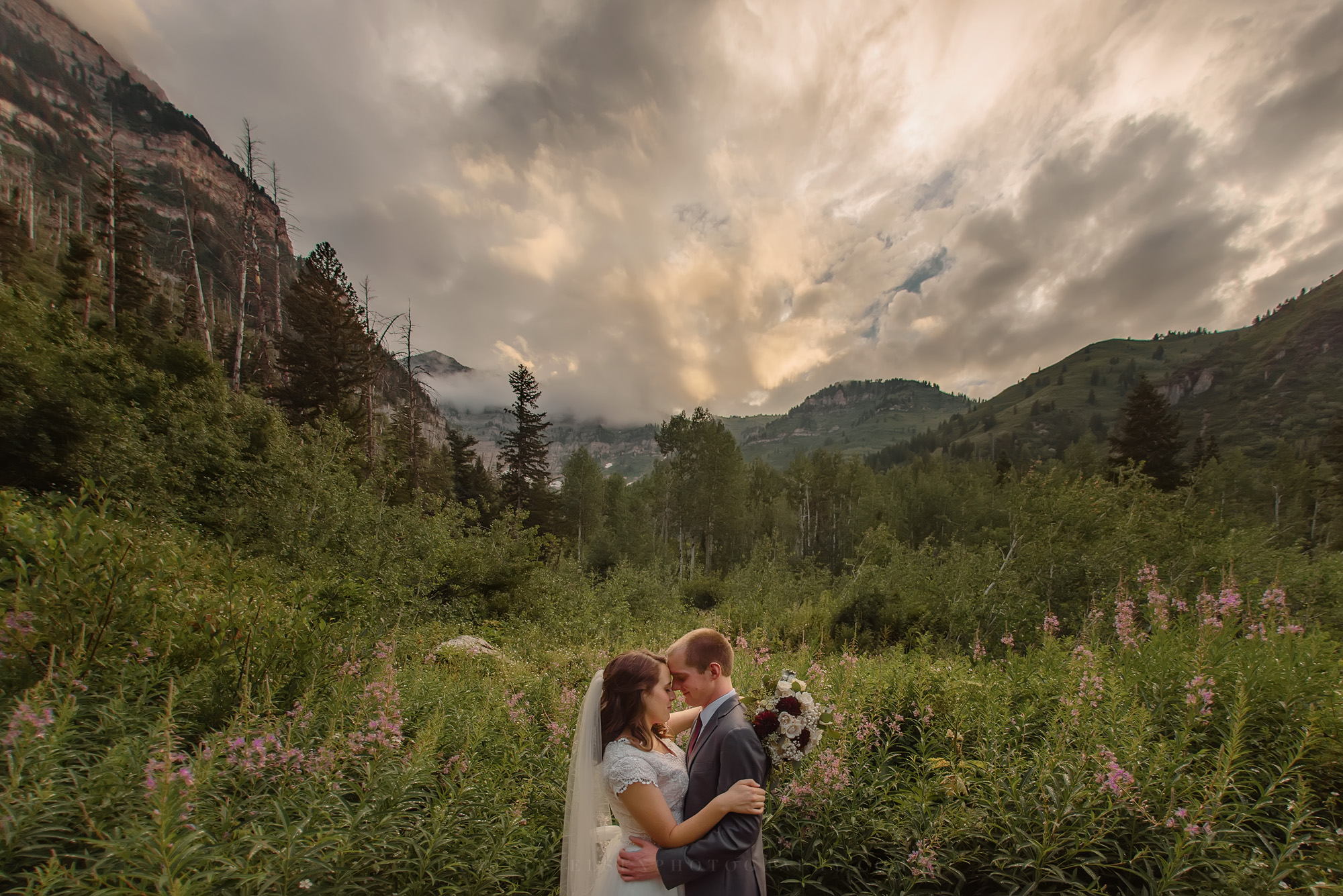 Aspen Grove wedding formals bride and groom